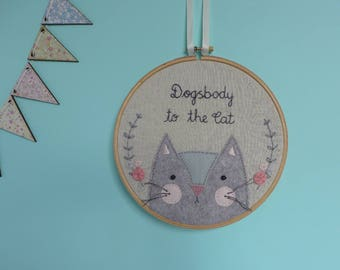 Cat Hoop Art - Crazy Cat Lady - Funny Cat Wall Art - Funny Gift for Cat Lover -  Cat Gift Hoop Art -  Cat Hoop Wall Hanging - Cat Embroidery