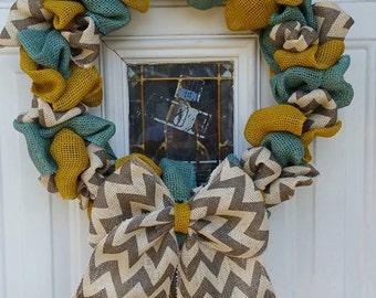 Yellow Burlap Wreath- Teal Burlap Wreath- Chevron Burlap Wreath-Springtime wreath