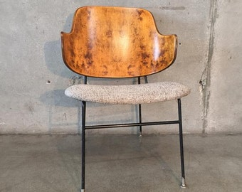 Rare Kofod Larsen Burl Wood Penguin Chair (WTDZL9)
