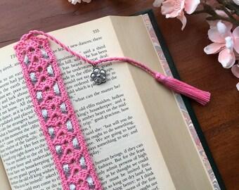 Crochet bookmark, flower charm on the tassel, unique book lover gift
