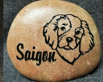 "KING CHARLES CAVALIER Memorial Stone 8"" or 6"" (approx. size) Dog Personalized with Name  Option to add Date & 7 different designs"