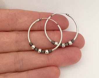 Sterling Silver Hoop Earrings | Sterling Silver | 25 mm Hoops | Hoop Earrings | Boho Earrings |