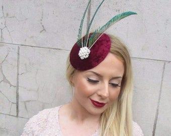 Burgundy Red Green Velvet Statement Feather Headpiece Fascinator Vintage 2616