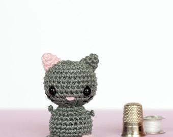 Crochet amigurumi cat, Mini crochet plush cat, Tiny crochet cat, Mini amigurumi crochet animals, Cute plush animals, Knitted animals doll
