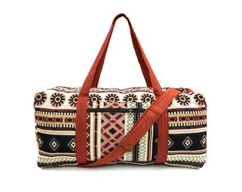 Cute Duffle bag, Aztec Weekender bag, Handmade Overnight bag, Womens Travel bag, Holdall, Ethnic Tribal bag, Hippie tapestry bag, Gift ideas