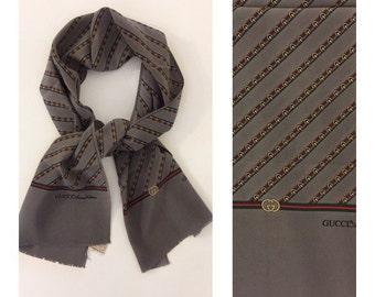 GUCCI - 60s Gucci Scarf - Vintage Gucci Silk Scarf - Vintage Silk Foulard