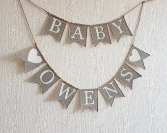 Burlap Baby Banner, Baby Banner, Baby Shower Banner, Baby Shower Bunting, Oh