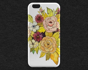Clear Flower Case, Clear iPhone Case, Flower iPhone 7 Case, Floral iPhone 6, Transparent iPhone, Flower iPhone 6 Plus, Clear iPhone SE Case