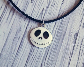 "Jack Skellington Choker Charm Necklace (Nightmare Before Christmas) 15"" - Choose Your Own Color"