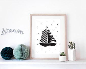 "Poster for children ""BOAT"" - original print - perfect for a baby room - illustration boat"