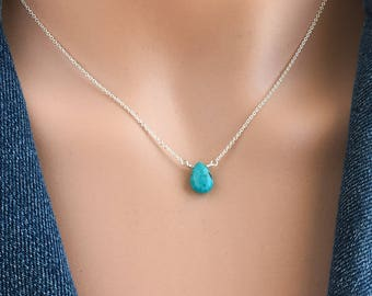 Dainty Turquoise Necklace Silver - Turquoise Necklace - December Birthstone Necklace - Available in Silver, Gold and Rose Gold