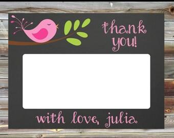Bird Theme Thank You Card - Pink Bird Theme Matching Thank You Card - Chalkboard Bird Thank You Card - Pink Bird Thank You Card
