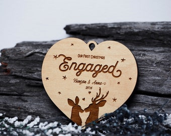 Our First Christmas Ornament Engaged, Just Engaged Ornaments Personalized Wedding Ornament, Wedding Christmas Ornaments Engagement Gift:512B