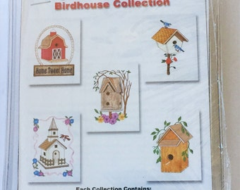 BIRDHOUSE Collection ~ Dalco Easy Stitch Applique Fabric Kit 5x7 Sew Floppy Disk