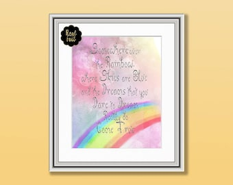 Real Sparkly Foil and Watercolour Child's Nursery Print, Somewhere Over the Rainbow Print, Nursery Art, Childs Bedroom Print, Foil Print