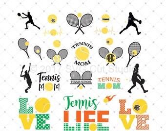 Tennis SVG Cut Files, Tennis Love SVG, Tennis Ball SVG, Tennis Monogram Frames svg cut files for Cricut and Silhouette, svg files