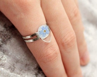 teardrop ring blue flower ring midi jewelry gift daughter blue ring band gift/for/her body jewelry birthday gift sister jewelry floral ъ12