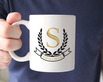 Father's Day Gift, Personalized Initial Mug, Boss Gift, Monogram Coffee Mug, Gift for Coworker, Monogrammed Name Crest, Gift for Man, Office