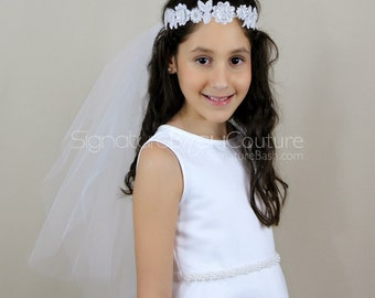 First Holy Communion Veil with Headband | Flower Girl Veil with Headband  | 2 Tier Veil with Headband