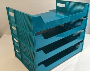 Eldon Office Products Stackable Letter Trays Set of 4, Turquoise, 1969, USA