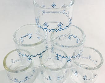 Pyrex Napkin Rings Compatibles By Corning Snowflake Blue Pattern 54-2 Compliments Corelle Livingware Vintage in Box Set of Six