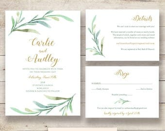 Greenery Wedding Invitation Template, Printable Wedding Invitations, Rsvp and Details cards | Greenery | Edit in WORD or PAGES
