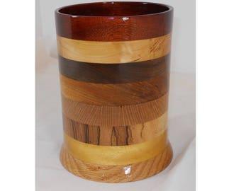 Wooden Striped Spoon Holder, Utensil Organizer, Handmade Wooden Vase #110
