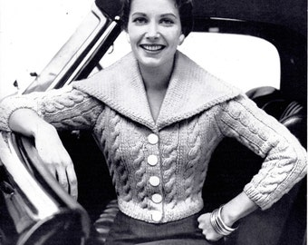 Womens Vintage 50s Shawl Collar Cabled Short Cardigan Digital Knitting Pattern
