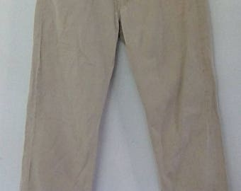 Vintage 90s pants trousers beige cotton boy fit with beading size medium
