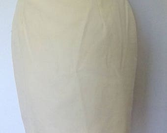Vintage 80s lemon yellow pencil wiggle mini skirt 80s skirt size small to extra small
