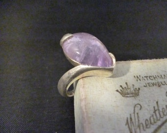 Stunning modernist style Purple quartz ring - 925 - sterling silver - Unique - Full UK Hallmark - UK J - US 4.75