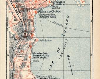 Vintage lugano map Etsy