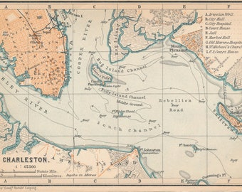1899 Charleston South Carolina Antique Map