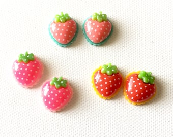Strawberry Earrings, Strawberry Stud Earrings, Fruit Earrings, Pink Strawberry, Red Strawberry Earrings, Miniature Food Jewelry, Kawaii