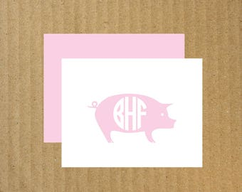 Pig Note Cards, Set of 10, Monogram Pig Note Cards, Monogram Note Cards, Pig, Thank You Cards, Pig Note Cards, 4-H Thank You Cards