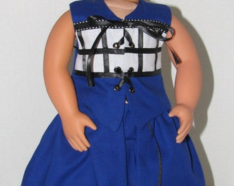"Dr Who Halloween Costume for 18"" Dolls. Made in USA fits American Girl, Our Generation Dolls"