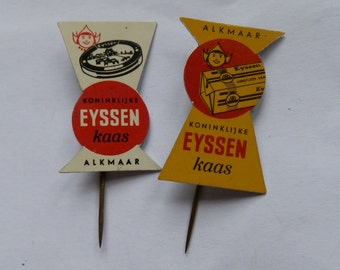 Two Vintage 1960's EYSSEN KAAS Cheese Yellow and Red Dutch Metal Advertising Stick Pins / Lapel Badges