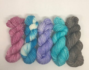 Set of 5 DK Mini Skeins 100% Superwash Merino 20 grams each Approx. 45 yards per mini skein 100 grams total