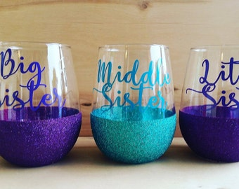Set of 3- Stemless Wine Glasses- Sister Gifts-Glitter Wine Glasses-Gifts For Her-Gifts For Sisters-Unique Gift- Sisters-Wine lover gifts