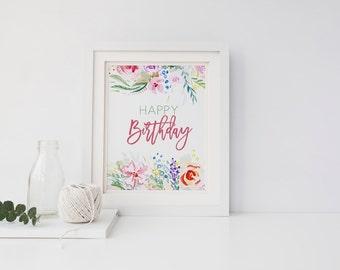 PRINTABLE Art Happy Birthday Floral Watercolor Birthday Sign Decor Watercolor Pink Green Birthday Table Sign Party Decoration Girl Birthday