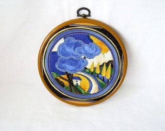 Clarice Cliff hand embroidery, art deco picture, kitsch hoop art, deco dance pattern, wall art, framed scenery picture, 6.5 inches
