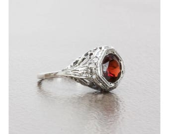 Filigree Natural Almandine Garnet Art Deco Style Ring in Sterling Silver, Anniversary Gift, Birthday Gift, Thank You Gift