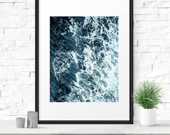 Sea photography, Ocean art, Printable download, Sea print, Beach decor, Outdoor decor, Beach art, Blue wall art decor, Ocean waves art