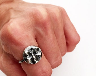 Moon Ring, Man in the Moon Ring, Moon Face  Ring, Silver Moon Ring, Full Moon Ring, Sterling Moon Ring, Fine Silver Ring