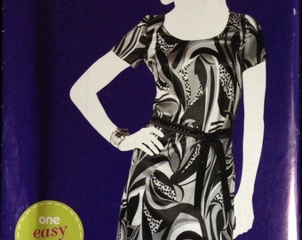 Simplicity A1989 - Easy Pullover Dress with Scoop Neck and Tie Belt - Size 6 8 10 12 14 16 18