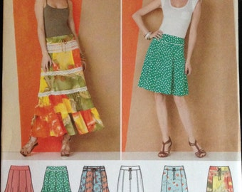 Simplicity 1888 - Gored and Ruffled Skirts in Knee and Ankle Length - Size 8 10 12 14 16