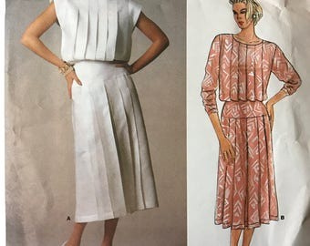 Vogue 1544 - 1980s American Designer Kasper Pleated Blouson Bodice Dress with Hip Yoke  - Size 10 or 14