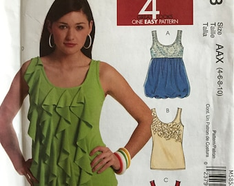 McCalls M5853 - Tank Top with Ruffle, Tiered, Raised Waist, and Bubble Hem Option - Size 4 6 8 10