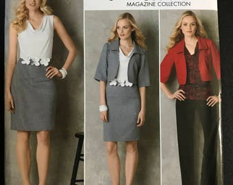 Simplicity 2345 - Threads Working Wardrobe with Top, Drses, Belt, Jacket, and Pants - Size 16 18 20 22 24