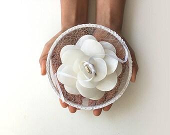 EXPRESS SHIPPING, Ring Pillow Alternative, Ring Bearer Pillow, Ring Holder, Ring Hoop, White Flower, Ring Pillow, Flowers, Boho Wedding